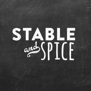Stable and Spice white on chalkboard